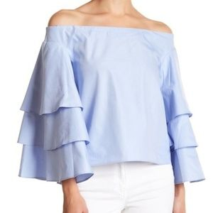 New Endless Rose Off Shoulder Ruffle Top Blue XS 2